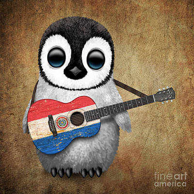 Baby Penguin Playing Paraguay Flag Guitar Poster by Jeff Bartels