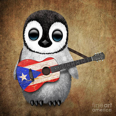 Baby Penguin Playing Puerto Rican Flag Guitar Poster