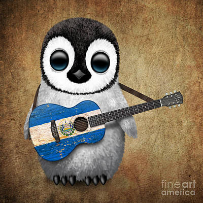 Baby Penguin Playing Salvadorian Flag Guitar Poster