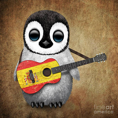 Baby Penguin Playing Spanish Flag Guitar Poster by Jeff Bartels
