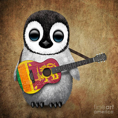 Baby Penguin Playing Sri Lankan Flag Guitar Poster
