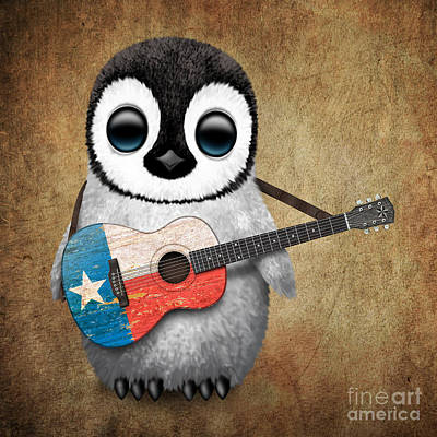 Baby Penguin Playing Texas Flag Guitar Poster by Jeff Bartels
