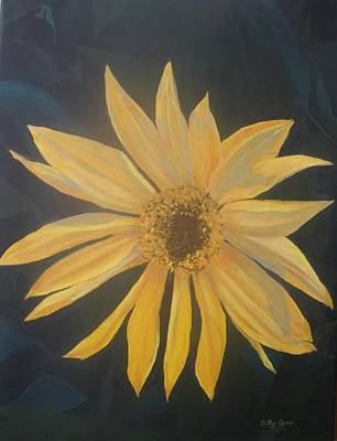 Poster featuring the painting Baby Sunflower by Betty-Anne McDonald