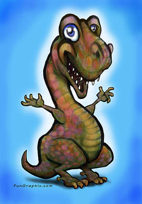 Poster featuring the painting Baby T-rex Blue by Kevin Middleton