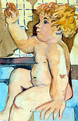 Babys Bath Poster by Mindy Newman