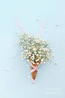 Poster featuring the photograph Baby's Breath Ice Cream Cone by Stephanie Frey