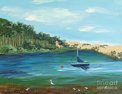 Poster featuring the painting Back Bay From Back Bay Inn Los Osos Ca by Katherine Young-Beck