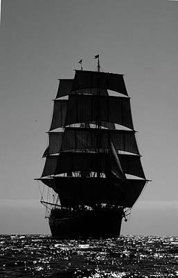 Back Lit Tall Ship Poster