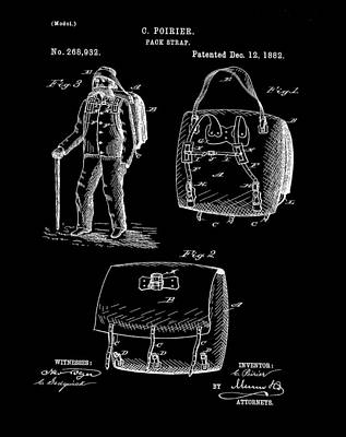 Back Pack Patent 1882 Black Poster by Bill Cannon
