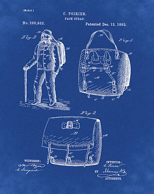 Back Pack Patent 1882 Blue Poster by Bill Cannon
