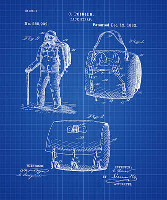 Back Pack Patent 1882 Blueprint Poster by Bill Cannon