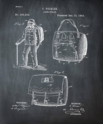 Back Pack Patent 1882 Chalk Poster by Bill Cannon
