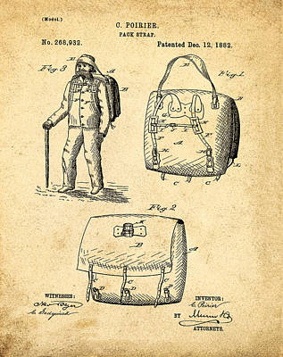 Back Pack Patent 1882 Sepia Poster by Bill Cannon