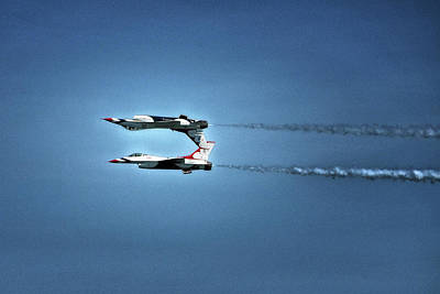 Poster featuring the photograph Back To Back Thunderbirds Over The Beach by Bill Swartwout Fine Art Photography