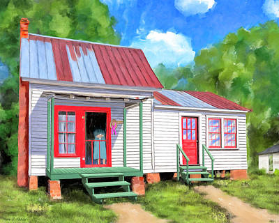 Poster featuring the painting Back To Grandmother's Cottage by Mark Tisdale