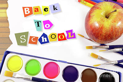 Back To School, Frame With Art Brushes, Watercolors And Apple Poster