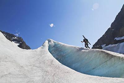 Backcountry Skier Above The Eklutna Poster by Joe Stock