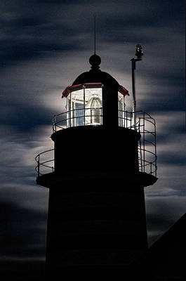 Backlight By Moonlight West Quoddy Head Lighthouse Poster
