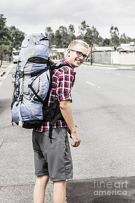 Backpacking Man On Travel Adventure Poster by Jorgo Photography - Wall Art Gallery