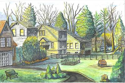 Poster featuring the painting Hometown Backyard View by Carol Wisniewski