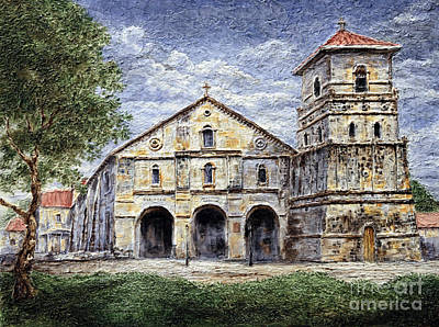 Poster featuring the painting Baclayon Church by Joey Agbayani