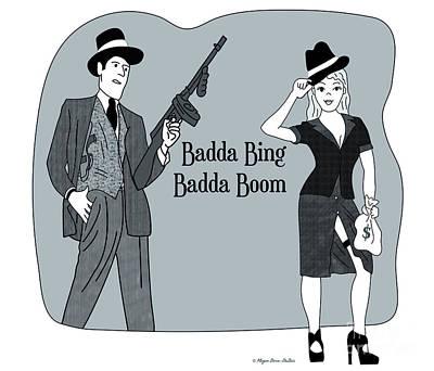 Poster featuring the digital art Badda Bing Blue by Megan Dirsa-DuBois
