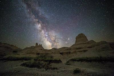 Badlands Milky Way Happy Astronomy Day Poster by Aaron J Groen