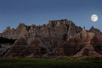 Poster featuring the photograph Badlands Moon Rising by Jemmy Archer