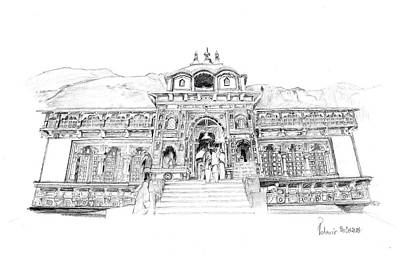 Poster featuring the drawing Badrinath by Padamvir Singh