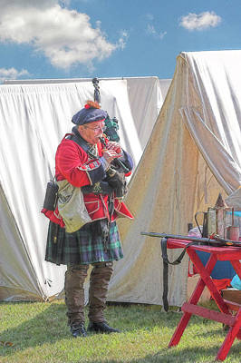 Bagpipes In Camp Poster by Randy Steele