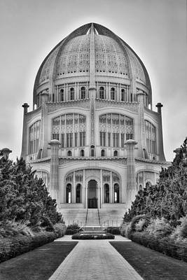 Poster featuring the photograph Baha'i Temple - Wilmette - Illinois - Vertical Black And White by Photography  By Sai