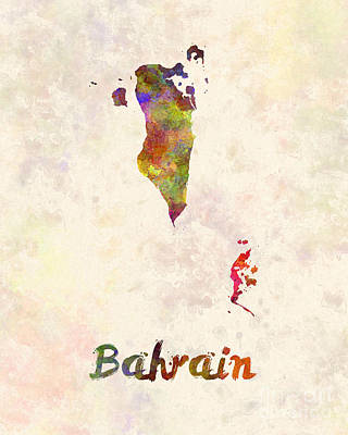 Bahrain  In Watercolor Poster by Pablo Romero