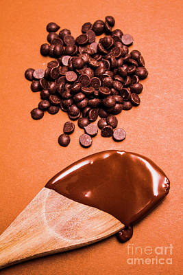 Baking Scene Of Spoon Covered With Chocolate Poster by Jorgo Photography - Wall Art Gallery