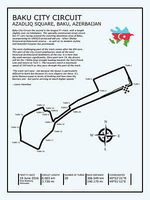 Baku City Grand Prix Circuit Poster by Mark Rogan