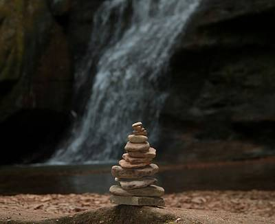 Balanced Stones Waterfall Poster