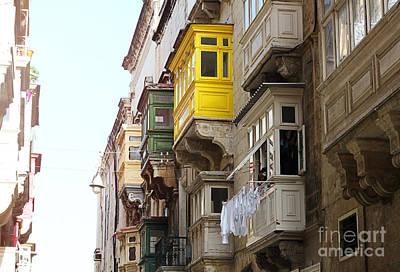 Balconies Of Valletta 1 Poster by Jasna Buncic