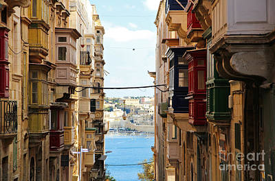 Balconies Of Valletta 2 Poster by Jasna Buncic