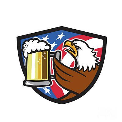 Bald Eagle Hoisting Beer Stein Usa Flag Crest Retro Poster