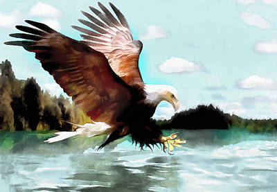 Bald Eagle Painting Watercolor Fine Art Print Poster by Vya Artist