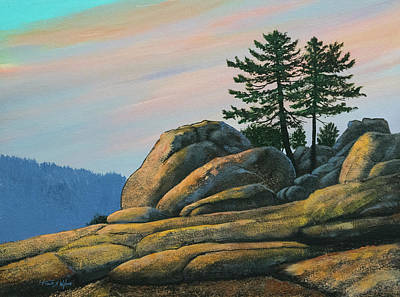 Poster featuring the painting Bald Rock At Sunset by Frank Wilson