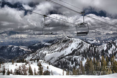 Baldy Lift Chairs In The Clouds Poster