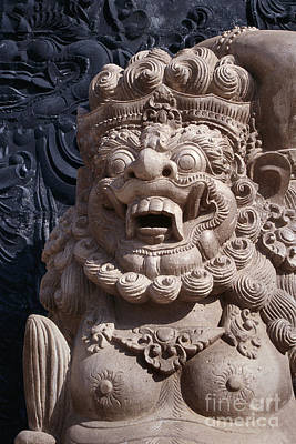 Bali Hindu Temple Sculpture Photograph - Bali Guardian I Poster