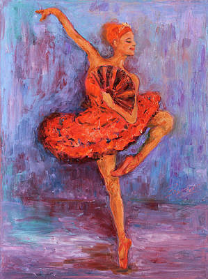 Poster featuring the painting Ballerina Dancing With A Fan by Xueling Zou