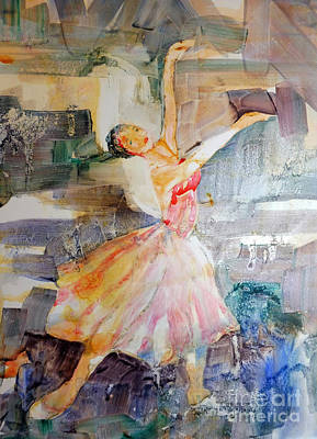 Poster featuring the painting Ballerina In Motion by Mary Haley-Rocks