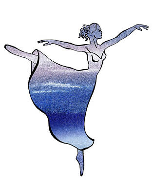 Ballerina Silhouette Peaceful Blue Arabesque Poster by Irina Sztukowski