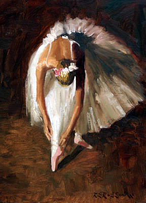 Ballerina With Pink Shoes Poster by Roelof Rossouw