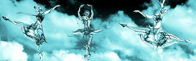 Ballerinas Dancing On Clouds Poster