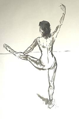 Ballet Dancer With Left Leg On Bar Poster