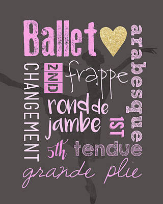 Ballet Vocabulary Poster by Crista Dearinger