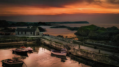 Ballintoy Harbour Sunset Poster